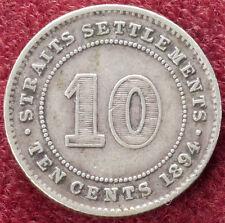 Straits Settlements 10 Cents 1894 (D1101)