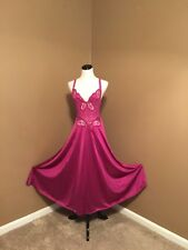Vintage Olga #91060 Gown Fuchsia Medium Full Sweep Nightgown