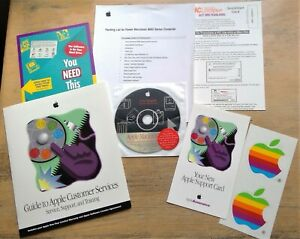 Guide To Apple Customer Services booklet 2 vintage stickers Macintosh CD 1997