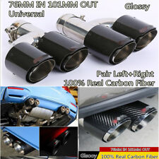 Pair Glossy Carbon Fiber Dual Pipe LEFT + Right Exhaust Pipe Tail Muffler Tip