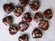 Vtg 12 BROWN PAINTED HEARTS DROPS GLASS JAPAN BEADS only from me!  :D #102113m