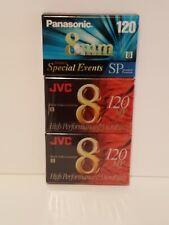 JVC 8 mm Video Cassette 120  MP High  Sealed 2 Pack plus Panasonic 8mm 120 sp