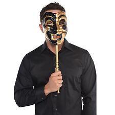 UOMO ORO GIULLARE VENEZIANA STICK MASCHERA Masquerader Ball Party Festa vestirsi