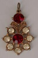 Art deco Gold Tone red stone Pendant