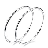 Women 925 Silver Big Large Round Circle Ear Hoop Earrings Wedding Party Jewelry