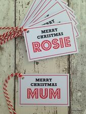 PERSONALISED CHRISTMAS GIFT TAGS WITH TWINE SET OF 8
