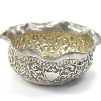 Antique 19th century Anglo Indian Kutch silver bowl foliate decoration