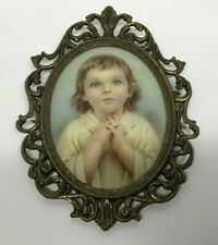 Homco Oval Convex Praying Girl Picture in Italian Brass Frame