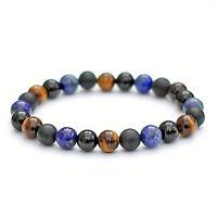 Lapis Lazuli, Tigers Eye, Black Onyx Bracelet, 8mm Gemstone Beads Stretch