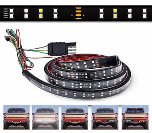 """ICBEAMER 60"""" 2 Row LED Waterproof Tailgate Strip Light Bar Color: White  Red C38"""