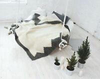 Handmade White 100 Wool Throw Blanket King Size for Sofa / Bed Warm Modern Decor