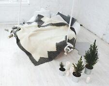 Handmade White 100 Wool Throw Blanket King Size for Sofa / Bed Warm Modern Decor