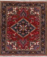 Geometric Oriental Heriz Area Rug Hand-Knotted 5 x 6 Wool Red Carpet Top Quality