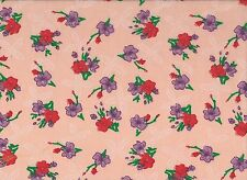 Apricot / Purple / Red  Floral Polycotton Fabric