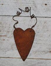 "2 Primitive Rusty Tin HEART Ornaments  ...  2-3/4"" Hearts ...."