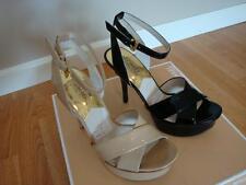 NIB Michael Kors Gideon Ankle Strap Platform Heels Sandals BLACK NUDE  8.5,9.5