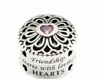 Genuine Sterling Silver Friendship Starts with Loving Heart charm +pouch PANDORA