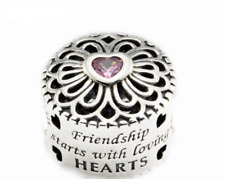 5d76fd5a7 Genuine Sterling Silver Friendship Starts with Loving Heart charm +Pouch  PANDORA