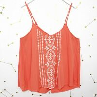Torrid Tank Top Size Large L Coral Pink Embroidered Spaghetti Straps Gauzy Cami
