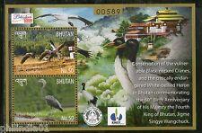 Bhutan 2015 Royal Society for Protection of Nature Crane Birds M/s MNH # 5419