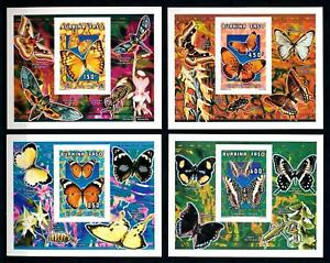 [93806] Burkina Faso 1996 Insects Butterflies 4 Imperf. Single Sheets MNH