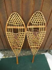 """VINTAGE Snowshoes 42"""" Long x 13"""" Wide Leather Bindings Great for DECORATION"""