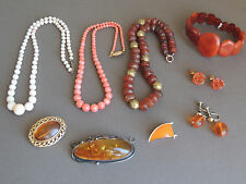 Old Amber and Coral Necklaces Pendant Bracelet Brooch Lot