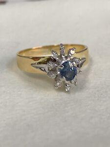 Vintage 18k Yellow GOLD BLUE SAPPHIRE & 8 DIAMOND CLUSTER DRESS RING