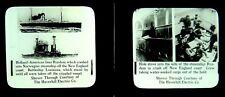 2 Magic Lantern Slides Holland America ss Ryndam crash Battleship Louisiana 1915