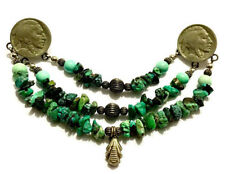 Unique Double Buffalo Nickel & Turquoise Beaded Chatelaine Brooch Pin