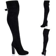 Buckle Block Heel Knee High Boots for Women