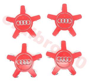 4pcs 135mm Audi Red Wheel Center Hub Caps A4 A5 A8 S4 S5 4F0601165N