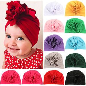 Newborn Girl Baby Elastic Flower Bow Turban Hat Indian Cotton Infant Beanie Cap