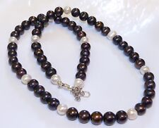 GENUINE! Natural Cream and Tahitian Black Coloured Pearls 925 Sterling Silver!!