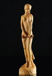 JP074ca --- 14.8 CM High Carved Boxwood Carving Figurine - Pretty Geisha Girl