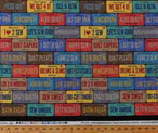 Cotton On the Go License Plates Row by Row Sewing Phrases Fabric BTY D690.56