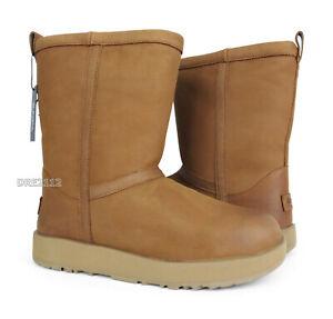 UGG Classic Short Waterproof Leather Chestnut Fur Boots Womens Size 8.5 *NIB*