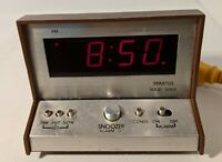 Spartus Solid State Alarm Clock Model 21-3004-500 Vintage Faux Wood - Tested