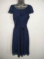 WOMENS PER UNA M&S BLUE WHITE SPOT TIE WAIST FRILLY FIT FLARE SUMMER DRESS UK 10