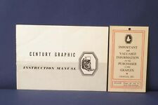 F66133~ Century Graphic Camera Instruction Manual – 14pags
