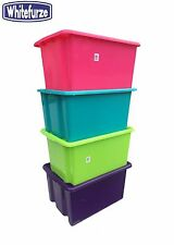 PLASTIC STORAGE BOX TUB CONTAINER BOXES WITH OR WITHOUT LID TOY BOX, COLOURFUL