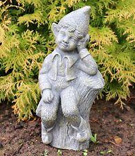 Sitting Garden Boy on Log Fairy Garden Ornament solid Stone Sculpture DS5302
