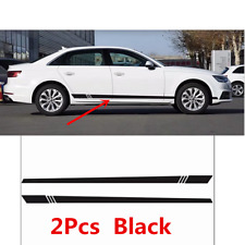 2Pcs Universal Car Body Black Waterproof Stripes Side Skirt Decoration Sticker