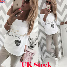 UK Womens Letter Casual Long Sleeve Tops Ladies Loose T-shirt Blouse White Shirt