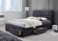 Modern 5ft Kingsize Grey Fabric Four Drawer Storage Bed - Spring Mattress