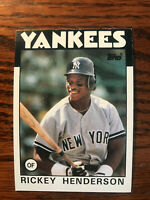 1986 Topps #500 Rickey Henderson Baseball Card New York NY Yankees Raw HOF
