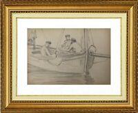 CHARLES WISLIN (1852-1932) SCENE DE PECHEURS A TREPORT EN NORMANDIE 1879 (1218)