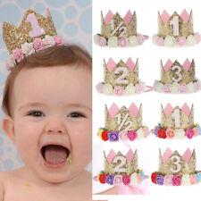 AU_ KE_ Baby Girl Crown Letter Sequins Flower Headwear Birthday Festival Headban