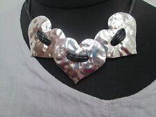 Lagenlook grandes Corto Collar De Corazón Color Plata Antigua