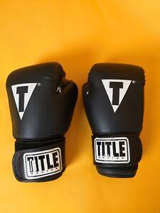 Title Boxing 12oz Training Gloves - BLACK/White TRAINING FITNESS